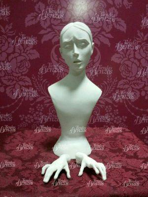 Busto de Virgen de 23 cm de marmolina con sus manos a juego