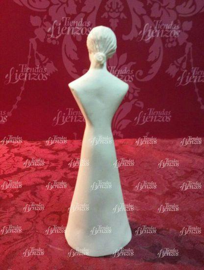 Busto con candelero de marmolina de 17 cm y manos a juego