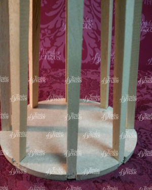 Candelero de madera natural de 28 cm