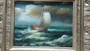Cuadro de pintura al oleo de barco