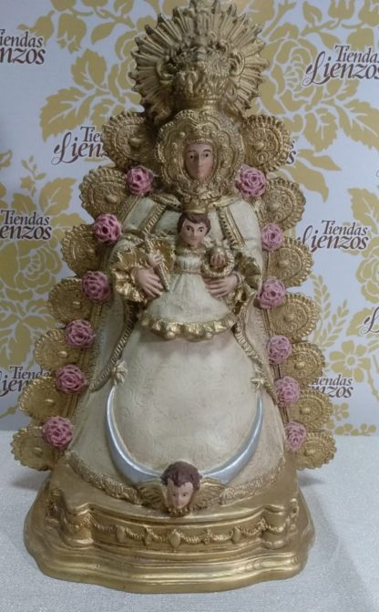 Virgen del Rocío de marmolina de 31 cm